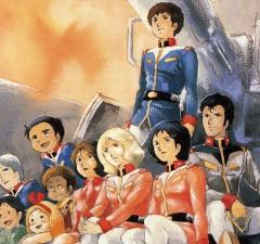 La crew della Base Bianca con in piedi il pilota di Gundam, Peter (Amuro) Ray - immagine di Yoshikazu Yasuhiko